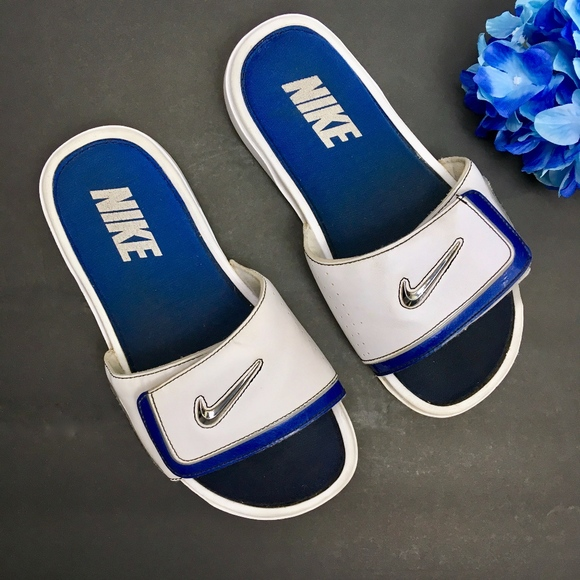 5cedcfb00a81 NIKE White Blue LEATHER Slides Women s Size 8. M 5b74620fc2e9fee0739efd43